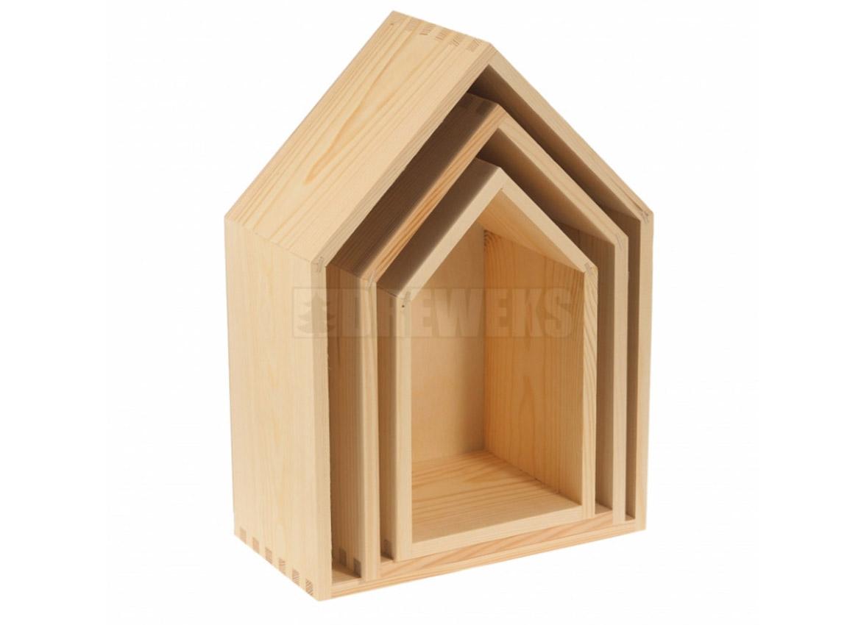 Polička drevený domček (3 veľkosti)
