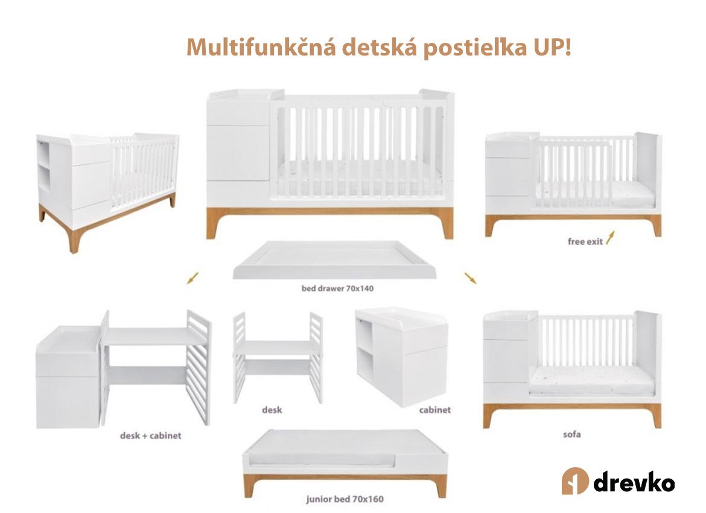 Multifunkčná detská postieľka UP! so zásuvkou (3v1)